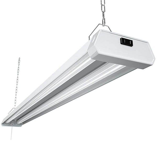 2W Linkable LED Utility Shop Light Racdde 4ft 48 Inch 5000K Led Garage Ceiling Lighting, 300W Equivalent Double Integrated Florescent Light Fixture with Pull Chain Mounting
