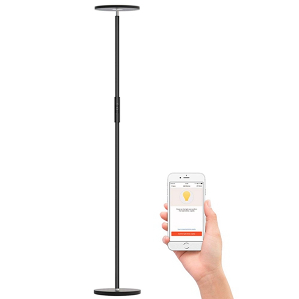 Racdde LED Torchiere Floor Lamp, Uplight Dimmable Floor lamps Wifi Smart Compatible with Amazon Alexa Google Home,Tall Standing Modern Pole Light Enabled Remote Control Stepless Touch Control for Living Room