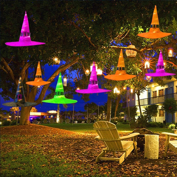 Racdde Halloween Decorations Outdoor 8Pcs Hanging Lighted Glowing Witch Hat Decorations 36ft Halloween Lights String Battery Operated Halloween Decor with 8 Lighting Modes for Outdoor, Yard, Tree