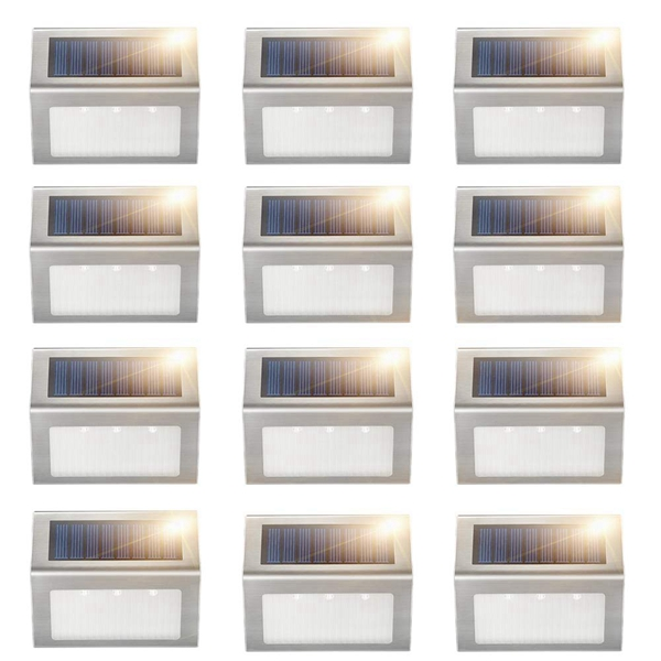 Solar Deck Lights, Racdde Super Bright LED Walkway Light Stainless Steel Waterproof Outdoor Security Lamps for Patio Stairs Garden Pathway (Yellow Light - 12PCS)