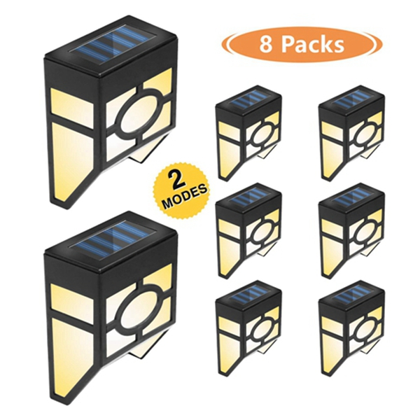 Racdde Solar Deck Lights, Solar Fence Lights Outdoor, 2 Modes Wall Mount Fence Post Lights LED for Garden, Landscape, Decoration, Pathway, Patio, Fence, Deck, Yard, White/Color Changing, 8 Pack