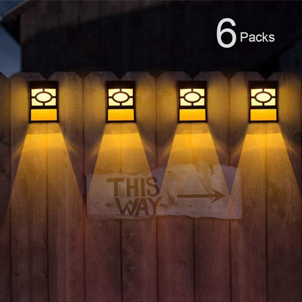 Racdde Solar Deck Lights, Outdoor Garden Decorative Fence Post Lighting, Black 6 Packs