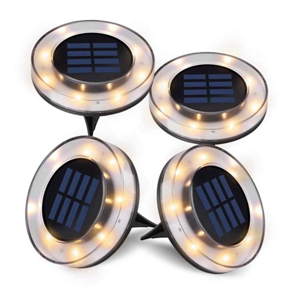 Racdde Solar Ground Lights,4 Pack Upgraded 8 LEDs Solar Disk Lights Outdoor, Waterproof Patio Garden Pathway In-Ground Lights - Warm White