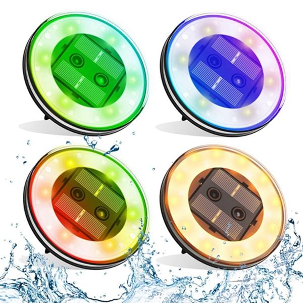 【4 Pack】Racdde Smart Solar Lights Outdoor, 18 LED Multifunction Floatable Pool Lights,Solar Garden Lights,Solar Pathway Lights W/Sensor for Backyard,Lawn,Garden,Pathway,Swimming Pool