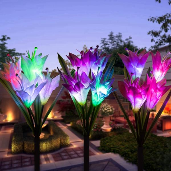 Racdde Outdoor Solar Garden Stake Lights,Upgraded Solar Powered Flower Lights,Multi-Color Changing Led Solar Decorative Lights,Light for Garden,Patio 12 Lily Flower 3 Pack
