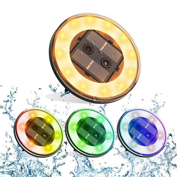 Racdde Solar Lights Outdoor 18 LED Solar Disk Lights Waterproof Garden Lights Outdoor In-Ground Lights for Walkway Patio Yard Lawn Driveway Flowerbed Courtyard Decoration - Colorful (4 Pack)