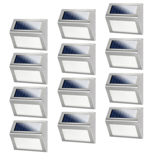 Racdde 12 Pack Solar Powered Deck Lights Wireless Bright LED Stair Lights Auto On/Off Waterproof Stainless Steel Decorative Outdoor Step Lighting for Driveway Fences Pathway Staircase (White Light)