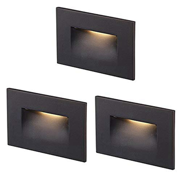 Racdde 120V Dimmable LED Step Light,3-Pack,3000K Warm White 3W 100lm,Indoor/Outdoor Stair Light,Oil Rubbed Bronze
