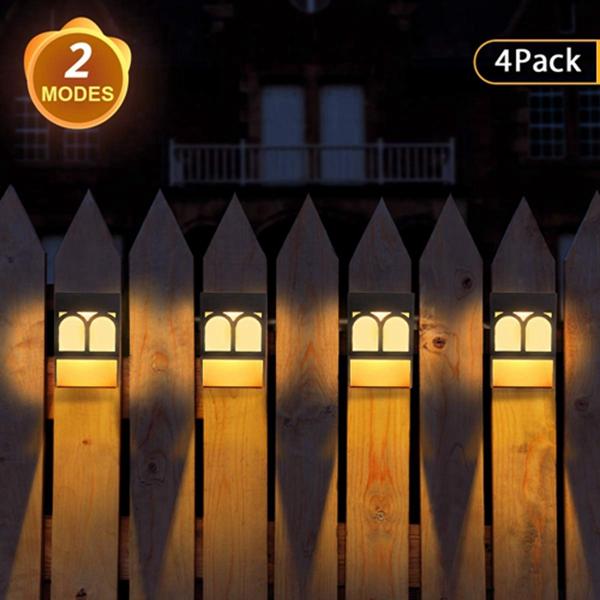 Racdde Solar Lights Outdoor, 2 Modes Solar Deck Lights for Garden Decorative, Fence, Patio, Front Door, Stair, 4 Pack