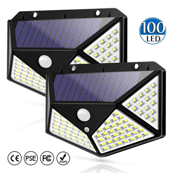 Racdde Solar Light Outdoor 100 LED Waterproof Security Wall Night Light with Motion Sensor 270° Wide Angle for Pathway Porch Yard Garage Garden Fence Walkway Driveway