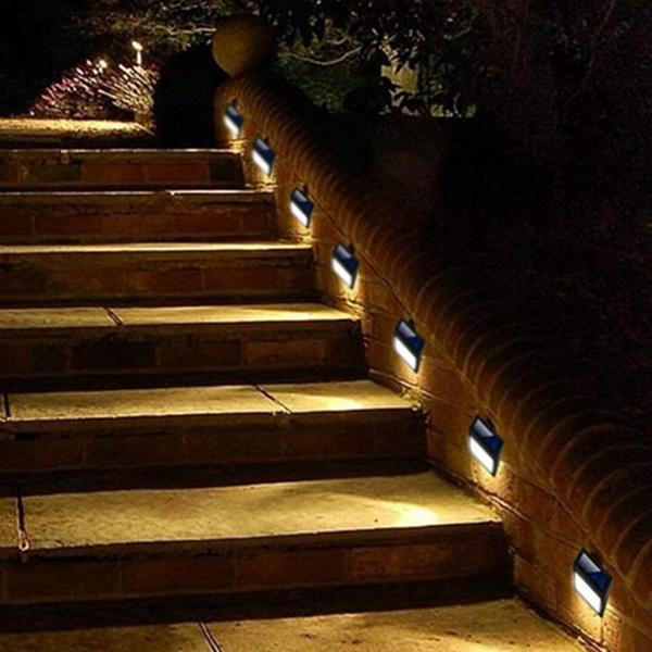 Racdde 6 Pack Solar Powered Wall Lights, Solar Stair Lights Outdoor 6 LED Step Light Wall Mount Garden Path Lamp Step Lights Outdoor Patio Gutter Fence Lighting