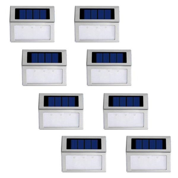 Racdde Solar Step Lights, Stair Deck Lamp, Outdoor Stainless Steel Solar Garden Lights,Weatherproof for Stairway Lighting and Wall Lights,Solar Powered Wireless 8 Packs