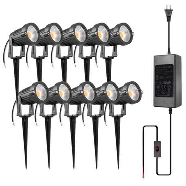 Racdde 5W LED Landscape Lights with Transformer 12V 24V Waterproof Garden Pathway Lights Warm White Walls Trees Flags Outdoor Spotlights with Spike Stand (10 Pack with Transformer)