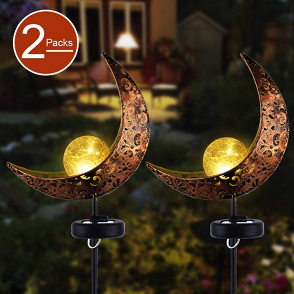 Garden Solar Stake Lights,Racdde Pathway Outdoor Moon Crackle Glass Globe Stake Metal Lights,Waterproof Warm White LED for Lawn,Patio or Backyard (2 Packs)