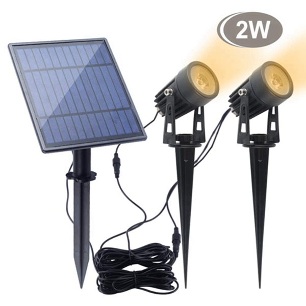 Racdde Led Solar Spotlights 2W Led Solar Powered Landscape Lights Low Voltage IP65 Waterproof 16.4ft Cable Auto On/Off with 2 Warm White for Outdoor Garden Yard Landscape Downlight