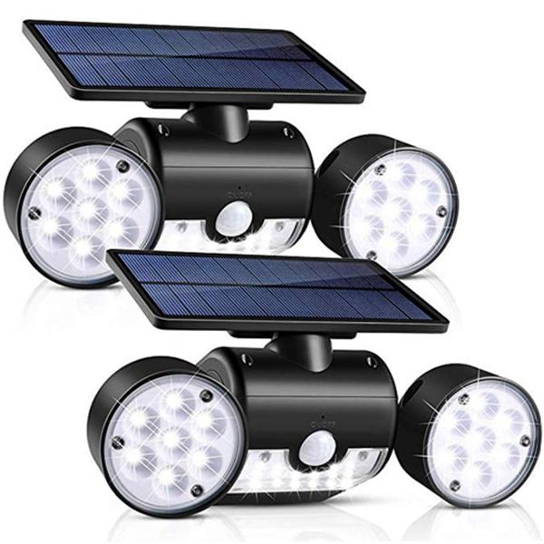 Racdde Solar Light Outdoor with Motion Sensor, Solar Wall Light with Dual Head Spotlights 30 LED Waterproof 360-Degree Rotatable Solar Security Light Outdoor for Garden (1 Pack)