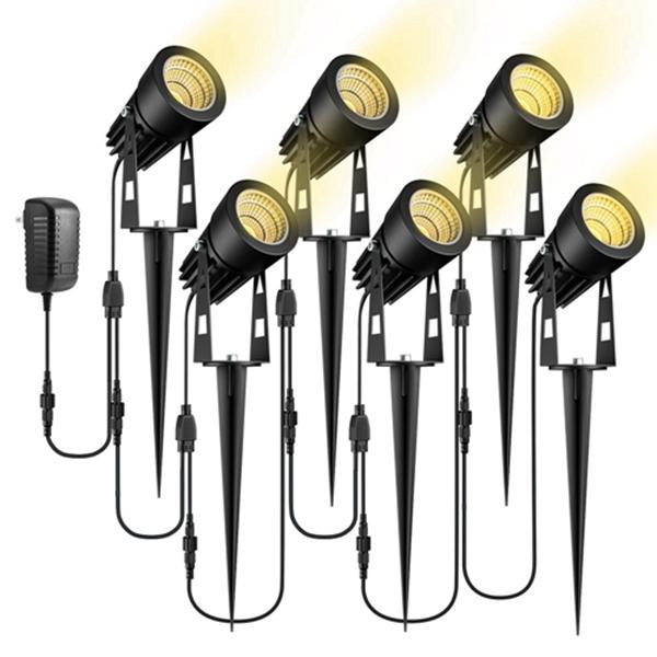 Racdde Low Voltage Landscape Lights, 12V LED Landscape Lighting Outdoor Spot Lights Plug in Waterproof Garden Lights for Flood Yard Driveway Path (Warm White, 6 Pack)