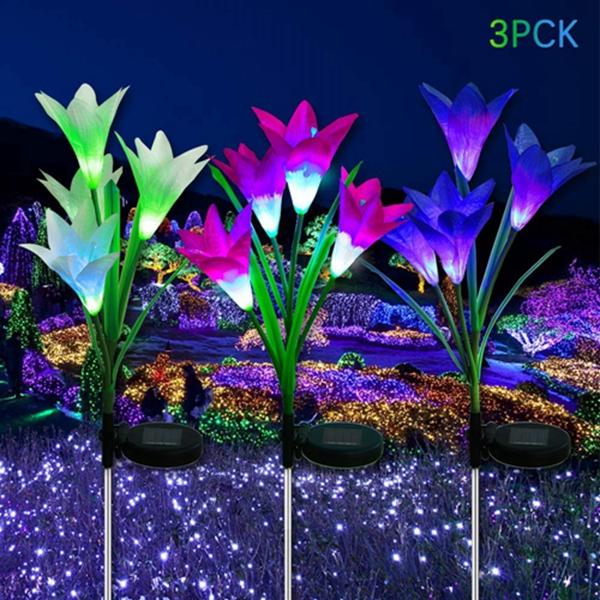 Racdde LED Solar Garden Flower Lights Outdoor - 3 Pack with 12 Lily Flowers, Solar Flower Lights, Multi-Color Changing LED Solar Decorative Lights Garden, Patio, Backyard