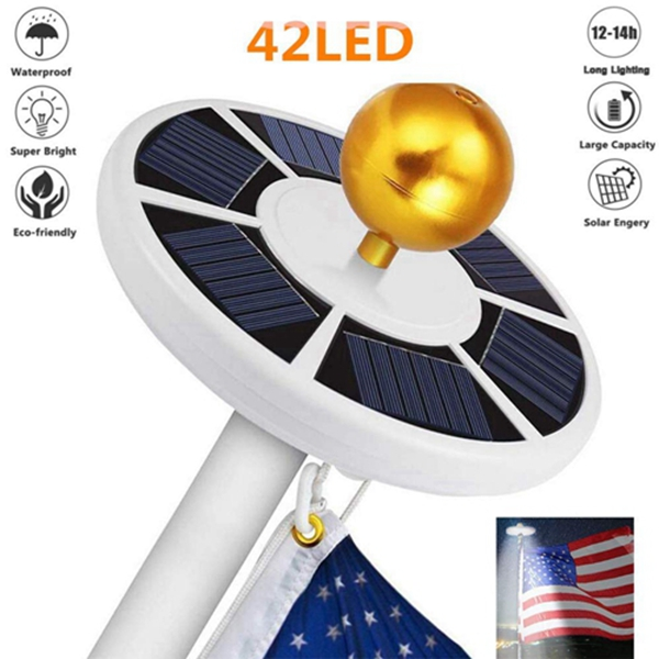 Racdde Solar Flag Pole Lights 42 LED New Generation IP65 Waterproof Flag Pole Lights Solar Powered for Most 15 to 25 Ft Dusk to Dawn Auto On/Off Night Lighting, for Flagpole Lights, Camping