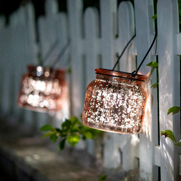 Solar Mercury Glass Mason Jars – 2 Pack Racdde Solar Rotating Table Lights with Color Changing Mode and White Mode Outdoor Hanging Lights for Garden, Patio, Home Decoration (Bronze)
