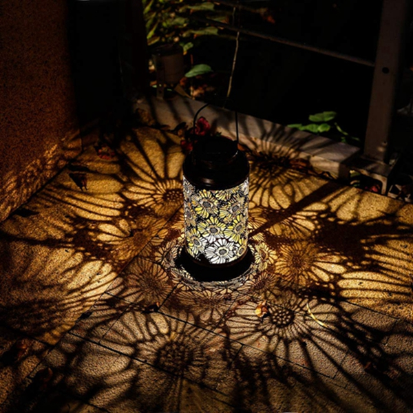 Racdde Solar Lantern Outdoor Garden Hanging Lights Retro Metal Flower Pattern Lamp for Garden Lawn Patio Table or Gifts