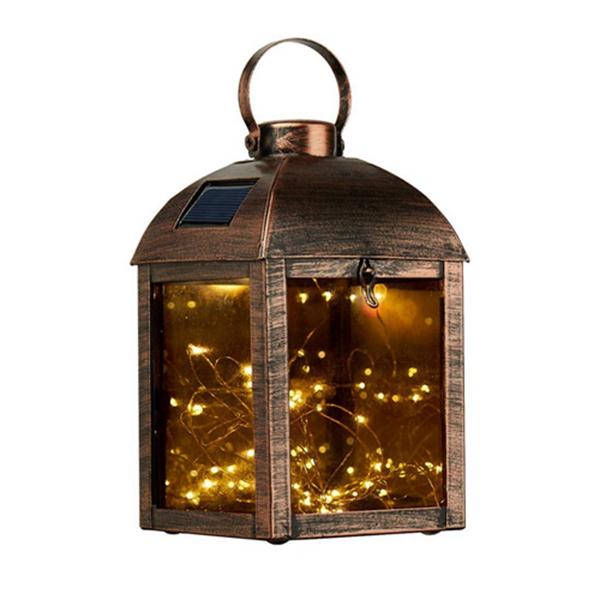 Racdde Solar Hanging Lantern, Waterproof Metal Garden Light, Outdoor Decorative Table Lamp for Patio Decoration (Bronze)