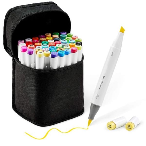 48-Color Art Markers Set, Racdde Dual Tip, Brush & Chisel, Sketch Marker for Kids, Artist, Students, Alcohol Brush Markers for Sketching, Adult Coloring, Calligraphy and Illustration, Bonus 1 Blender