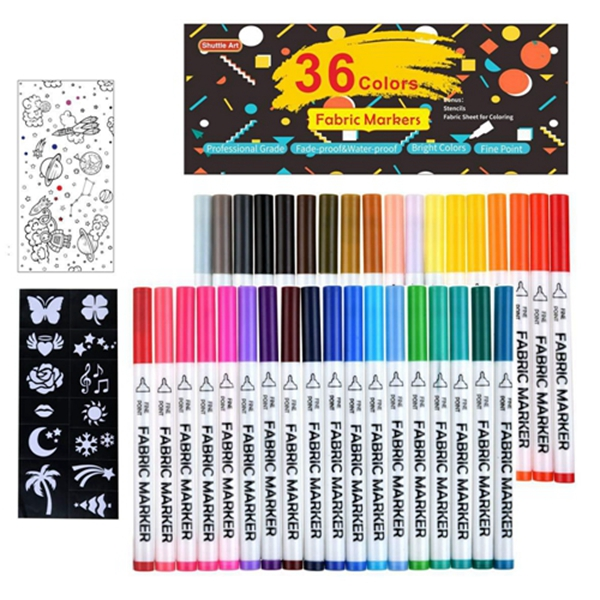 36 Colors Fabric Markers, Racdde Fabric Markers Permanent Markers for T-Shirts Clothes Sneakers Jeans with 13 Stencils 1 Fabric Sheet,Permanent Fabric Pens for Kids Adult Painting Writing