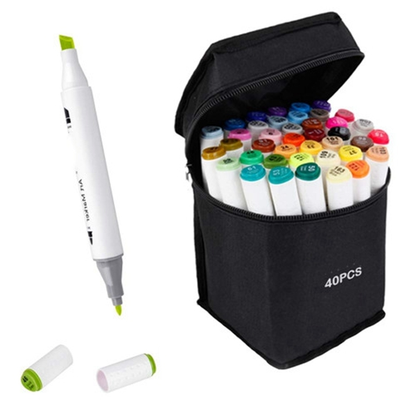 Racdde Marker Pens Dual Tips Permanent Art Markers for Kids, Highlighter Pen Set for Adult Coloring Drawing Sketching Highlighting and Underlining (Carrying Case & 40 Colors)