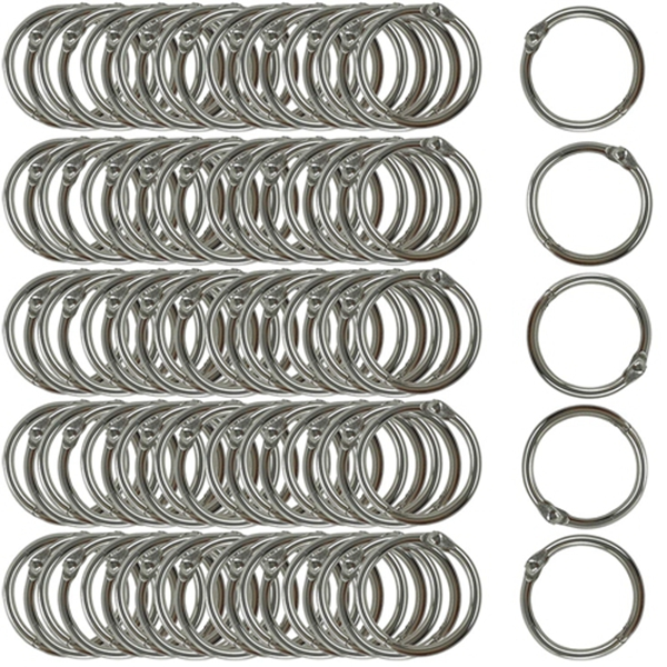 Racdde Book Rings Small 1-Inch Nickel Plated Metal (100-Pack)