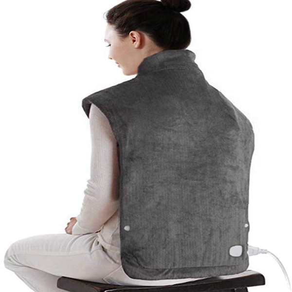 """Racdde XXX-Large Electric Heating Pad for Pain Relief, Heating Wrap for Neck & Shoulder with Auto Off, ETL Certified, FDA Registered, 6 Temperature Settings, Fast Heating, 25"""" x 32"""", Dark Gray"""