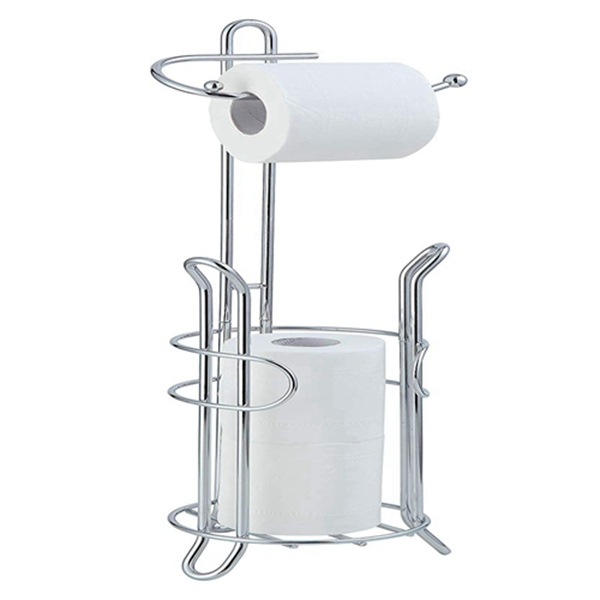 Racdde Bathroom Toilet Tissue Paper Roll Storage Holder Stand with Reserve, The Reserve Area Has Enough Space To Store Mega Rolls; Chrome Finish (Chrome)