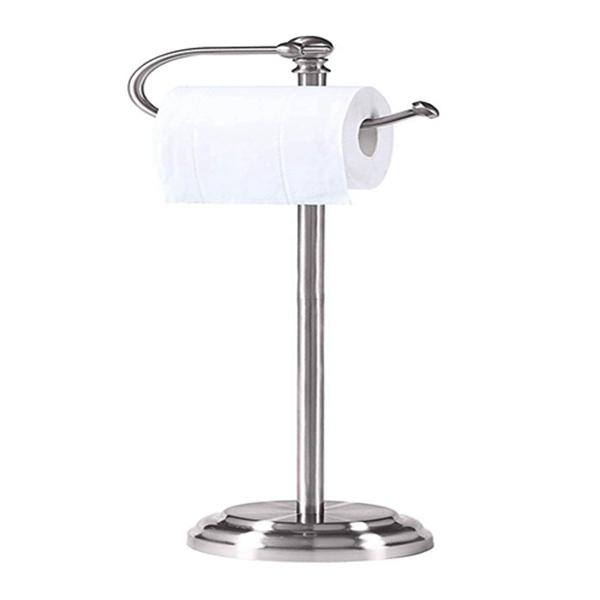 Racdde Classic Bathroom Free Standing Toilet Tissue Paper Roll Holder Stand, Chrome Brush Finish
