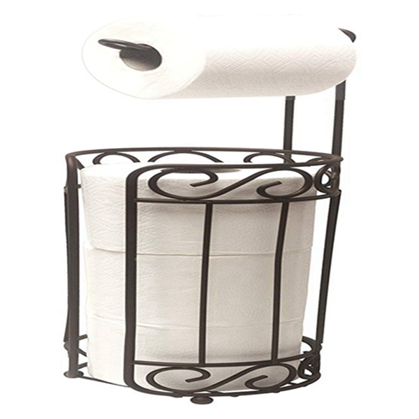 Racdde Bronze Scroll Holder and Dispenser, Free Standing Paper Roll & Space Roll Storage for Bathroom, Toilet, Powder Room Organization