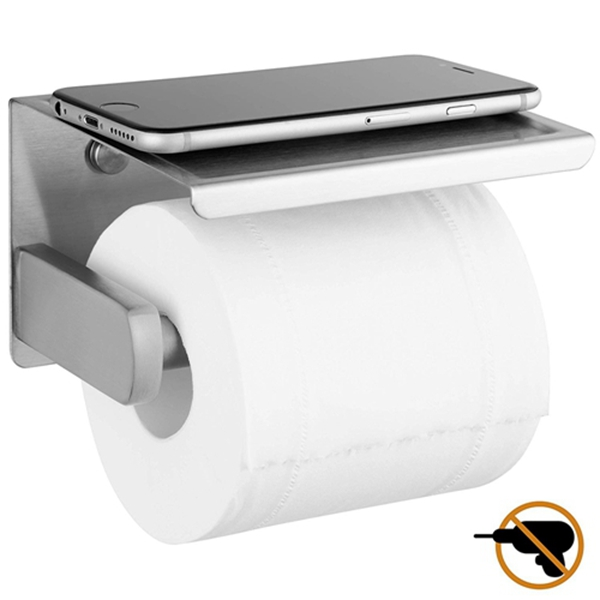 Racdde Toilet Paper Holder with Phone Self Brushed Nickel, Self Adhesive Toilet Paper Holder for Bathroom, SUS 304 Stainless Steel, Two Installation of 3M Self-Adhesive and Wall Mounted (Silver)