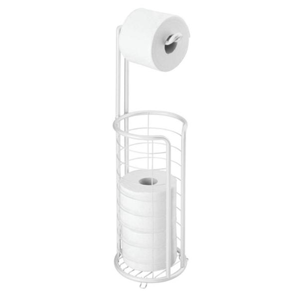 Racdde Modern Metal Freestanding Toilet Paper Roll Holder Stand and Dispenser with Storage for 3 Rolls of Reserve Toilet Tissue - for Bathroom Storage Organizing - Holds Mega Rolls - White