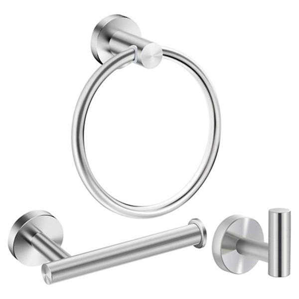 Racdde Bathroom Hardware Accessories Set Stainless Steel Brushed Nickel 3- Piece Set Includes Hand Towel Ring, Toilet Paper Holder, Robe Hook Heavy Duty Paper Towel Holder Hanger