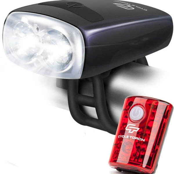 Racdde Night Owl USB Rechargeable Bike Light Set, Perfect Commuter Safety Front and Back Bicycle Light LED Combo - Free Bright Tail Light - Compatible with Mountain, Road, Kids & City Bicycles