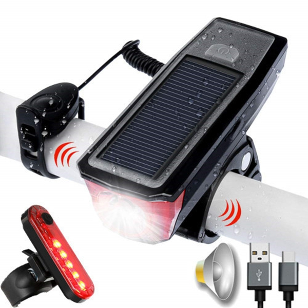 Racdde Bike Light Set and Horn Solar Powered USB Rechargeable 4 Mode Bicycle Headlight Taillight Combinations Front Back Light & Bell for Cycling Riding Safety Warning Rear Tail Light LED Speaker