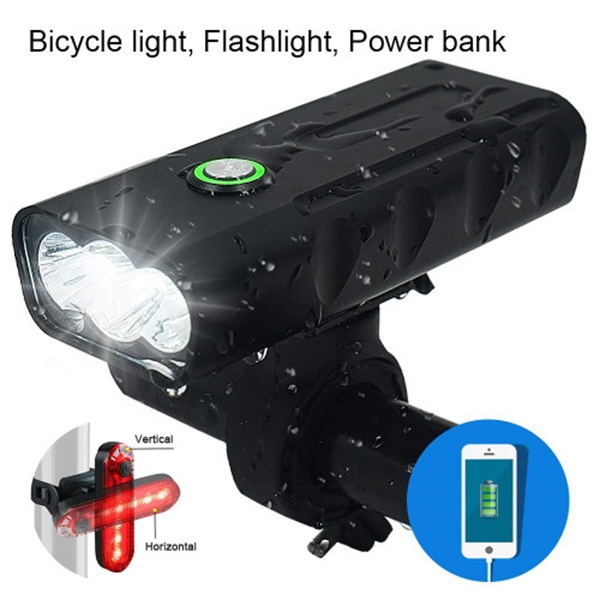 Racdde 3 LED 1000 Lumen Bicycle Headlight USB Rechargeable Built in Battery Bike Light with Charging Function - Free LED Taillight Waterproof Accessories Aluminum Alloy Cycling Light Safety Flashlight