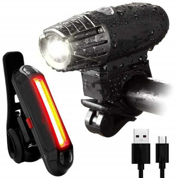 Racdde USB Rechargeable Bike Light Set- Super Bright 400 Lumens Bike Headlight +120 Lumens, LED High Brightness Bike TAIL LIGHT. Easy Installation & WATER-RESISTANT LED Bike Lights For Safe Cycling At Night