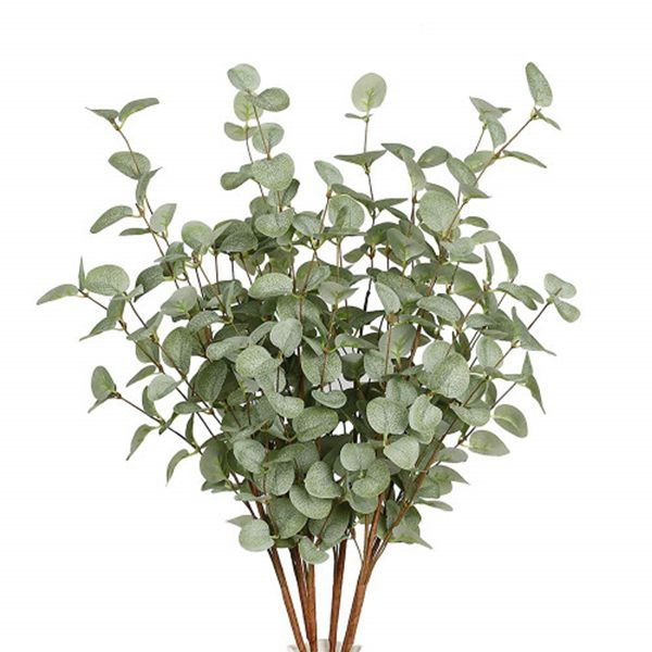 Racdde 6 Pcs Artificial Greenery Stems Eucalyptus Leaf Spray in Green Silk Plastic Plants Floral Greenery Stems for Home Party Wedding Decoration
