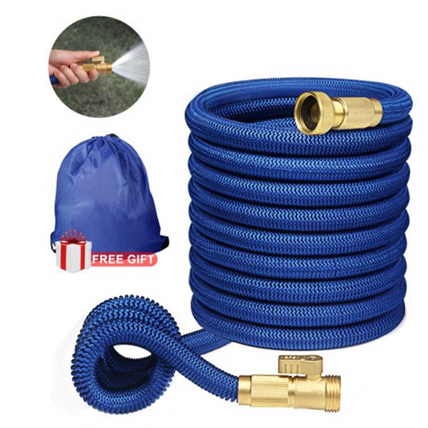 """Racdde Expandable Garden Hose,Flexible Garden Hose 50 ft,Water Hoses Expandable with 3/4"""" Solid Brass Fittings 3-layer Latex Compact Hose with on/off Valve Lightweight Hoses Easy Storage Blue"""