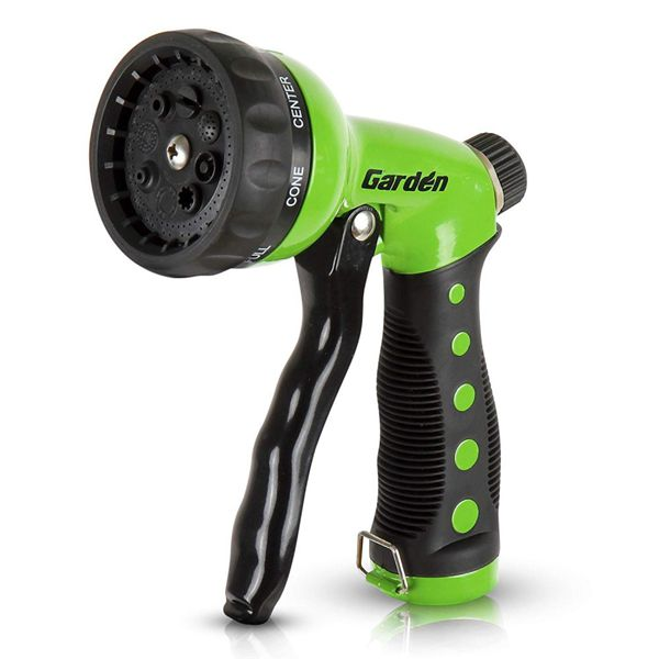 Racdde Heavy-Duty Nozzle, Comfort-Grip 8 Different Spray Patterns for Watering Lawns, Washing Cars & Pets