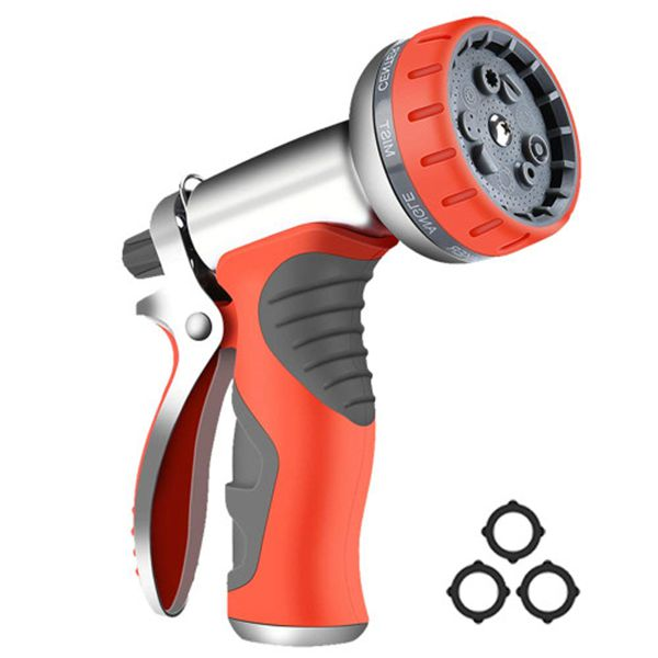 Racdde Garden Hose Nozzle Sprayer, Heavy Duty Metal High Pressure Water Gun, 9 Adjustable Watering Patterns Suitable for Watering Plants Washing Cars and Showering Pets