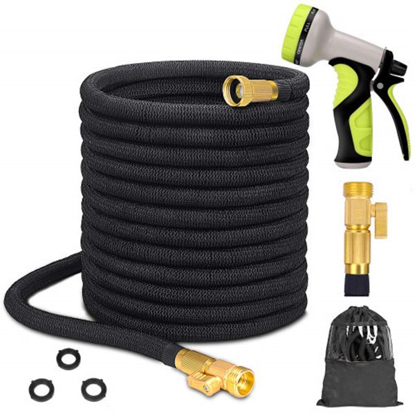 """Racdde 100ft Upgraded Expandable Garden Hose Set, Extra Strength Fabric Triple Layer Latex Core, 3/4"""" Solid Brass Fittings, 9 Function Spray Nozzle with Storage Bag, Premium No-Kink Flexible Water Hose"""