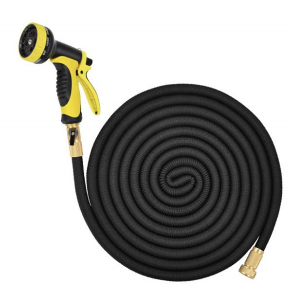 Racdde Lightweight Expandable Solid Brass Valve Connector Garden Hose with 10 Pattern Spray Nozzle - 100FT Black