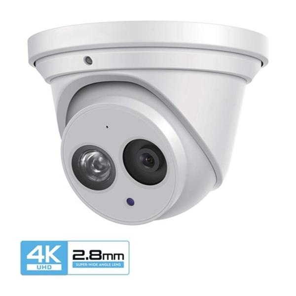 Racdde UltraHD 4K (8MP) Outdoor Security IP Turret PoE Camera, 3840x2160, 164ft NightVision, 2.8mm Lens, IP67 Weatherproof, MicroSD Recording (128GB), White (IP8M-T2499EW)