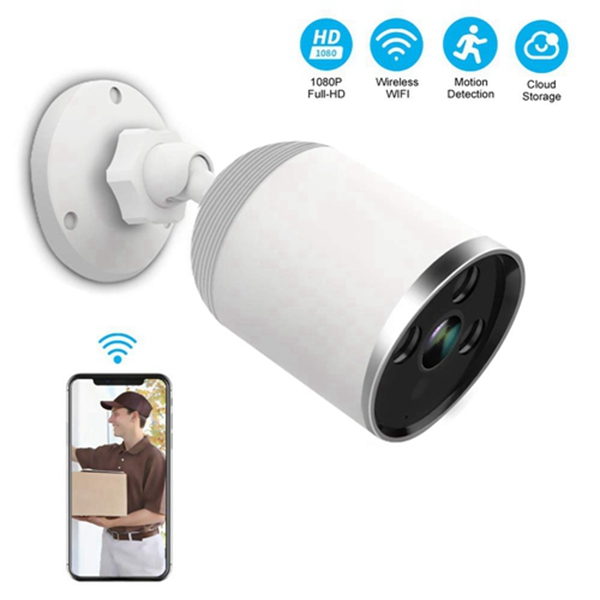Racdde Wireless Outdoor Security Camera, 1080P 2.4G WiFi Night Vision Surveillance Cameras with Two-Way Audio,Cloud Storage, IP66 Waterproof, Motion Detection, Activity Alert, Deterrent Alarm - iOS, Android