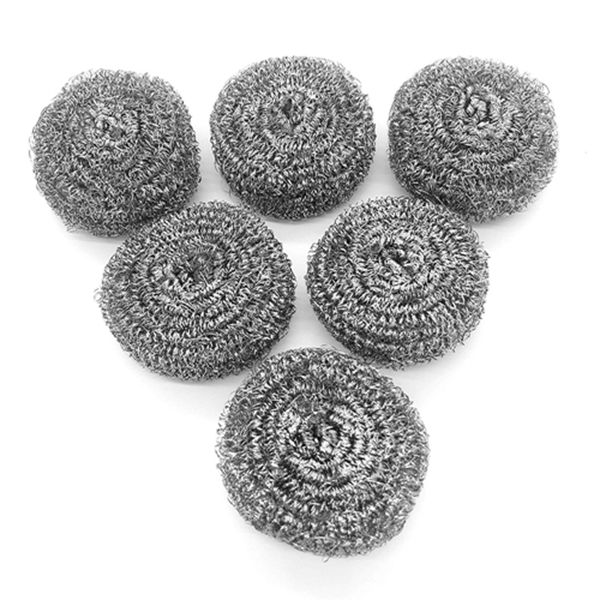 Racdde 6 Pack Stainless Steel Sponges, Scrubbing Scouring Pad, Steel Wool Scrubber for Kitchens, Bathroom and More